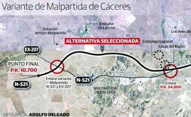 Fomento aprueba el proyecto de construcción de la variante de Malpartida de Cáceres