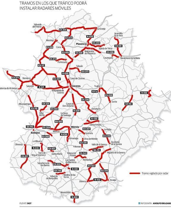 La Dgt Publica La Lista De Carreteras Extremenas Con Radares